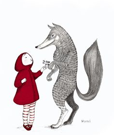 little red riding hood by https://www.facebook.com/pages/Marad-Ilustraci%C3%B3n/429474490471956