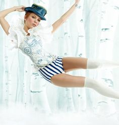 In the Fairy Tale photo shoot, Mollie Sue portrays Little Boy Blue.