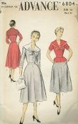 An original ca. 1950's Advance Pattern 6804.  Smoothly fitted blouse with side seam slits has a deep, wide sailor collar -- V neckline with soft folds -- Collar ends overlap and are tied with ribbon or slipped through a scarf ring.  Three quarter length or short sleeves.  Side zipper closing.  Four piece moderately flared skirt with pockets in side seams.  Back zipper closing.  Wear the blouse tucked in as a dress or out over the skirt as separates.