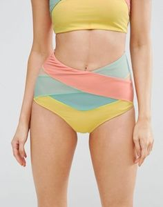 dc35e4de00187 ASOS Bright Mesh Wrap High Waist Bikini Bottom Asos