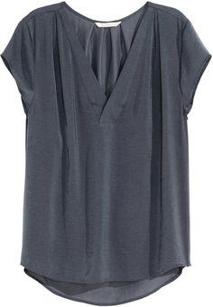 H&M V-neck Satin Blouse - Dark Gray