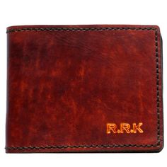 Personalised, full grain, genuine leather billfold wallet, hidden currency & coin pocket brown & black calf leather. Embossed initials hand made NZ.