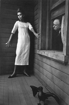 ✖✖✖ PSYCHO ✖✖✖ Ina Balke & Hitchcock. At Bate's house. For Harper's Bazar. In 1962. By Jeanloup Sieff.
