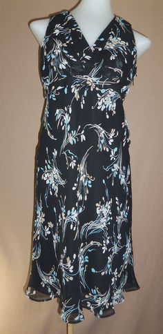 ANN TAYLOR LOFT 0 Black Blue Khaki Floral 100% SILK Sleeveless Dress #AnnTaylorLOFT #TeaDress #WeartoWork