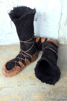 Made to Order Hand Felted Wool Boots Black Alpaca. $89.00, via Etsy.