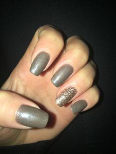 Khaki  Nails with Gold Glitter Ring Finger