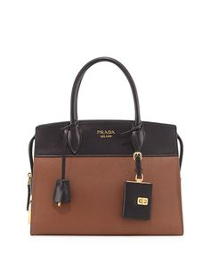 PRADA Esplanade Medium Leather City Satchel Bag, Orange/Black. #prada #bags #shoulder bags #hand bags #leather #satchel #lining #