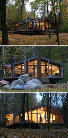 This rustic modern house in a forest has a modular design, with metal framing combined with barn board and glass to create a look that fits in with the surrounding environment.