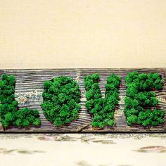 Items similar to Custom Wedding banner LOVE wedding gift Moss banner & Reclaimed Wood Wall Art Rustic Wall Art Geometric Wood Art Wood gift Engagement Banner on Etsy Reclaimed Wood Wall Art, Rustic Wall Art, Wall Wood, Moss Wall Art, Moss Art, Moss Graffiti, Engagement Banner, Driftwood Ideas, Ottoman Tray