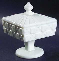 Westmoreland Old Quilt Milk Glass Footed Candy Dish w/ Lid #Westmoreland