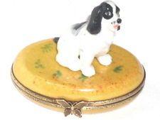 Limoges Black Cocker Spaniel Dog on Oval Trinket Box, Peint Main Porcelain