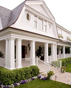 Santa Barbara Dutch Colonial - beach style - exterior - santa barbara - Kathryne Designs, Inc Gambrel Barn, Gambrel Roof, Dutch Colonial Exterior, Colonial House Exteriors, Dutch Colonial Homes, Colonial Cottage, Beach Cottage Style, Coastal Cottage, Pole Barn Homes