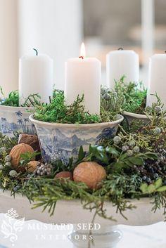 teacup & pedestal advent wreath | miss mustard seed  ~ lovingly repinned by www.skipperwoodhome.co.uk