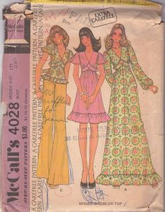 MOMSPatterns Vintage Sewing Patterns - McCall's 4028 Vintage 70's Sewing Pattern DAINTY Boho Diamond Empire Waist Tie Back Smock Top Blouse, Flutter Sleeve Party Dress, Maxi Gown Size 8