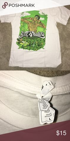 Wiz Khalifa shirt White with artistic drawing of wiz scartee Shirts Tees - Short Sleeve
