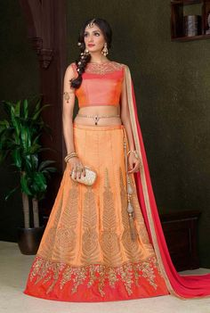 Orange art silk wedding wear Kalidar Lengha choli with Dupatta