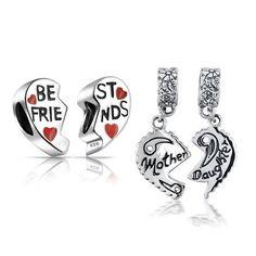 Bling Jewelry Sterling Mother Daughter Best Friends Heart Bead Set Fits Pandora
