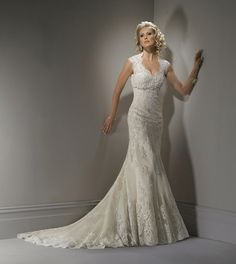 2012 Maggie Sottero Bridal - Ivory & Light Gold Scalloped Lace Open Back Cap Sleeve Bernadette Wedding Gown