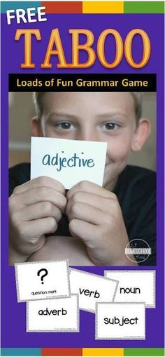 FREE Taboo Grammar Game makes practicing nouns, verbs, adjectives, adverbs, subjects, parts of speech, question marks, exclamation marks, homophones, and more lots of fun for first grade, 2nd grade, 3rd grade, 4th grade. NO PREP! Such a fun, easy to play