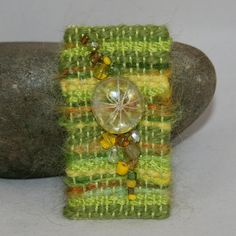 Embroidered and Beaded Brooch  Green Glass Nugget by Lynwoodcrafts, £7.50