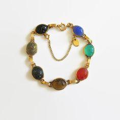 Vintage Burt Cassell Scarab Link Bracelet 1/20 12K by baublology #ecochic #vintagedesignerjewelry