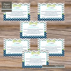 Baby shower diaper raffle ticket bowtie chevron by paperclever, $7.00
