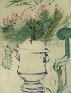 A Garden Urn - Édouard Manet. Oil on canvas. 78 x 60 cm. Ashmolean Museum, University of Oxford, Oxford, UK. Renoir, Eduardo Manet, Georges Seurat, Garden Urns, Art Uk, Art For Art Sake, Art Journals, Painting & Drawing, Time Painting
