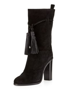The mid-calf boot is everything right now | Black Suede Tassel Knot Front Heeled Boots