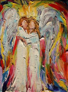 Original #Angel Hugs painting palette knife by Karensfineart