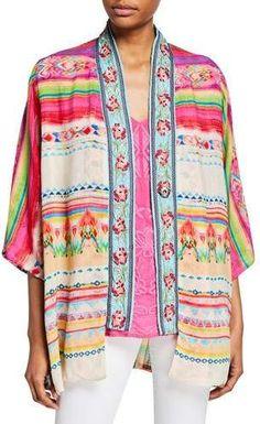 Johnny Was Designer Plus Size Maci Reversible Georgette Kimono with Embroidered Trim Kimono Sewing Pattern, Sewing Patterns, Johnny Was, Dress With Boots, Kimono Fashion, Plus Size Women, Plus Size Fashion, Long Sleeve Tops, Clothes For Women