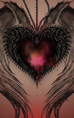 wings around a red gothic, glowing, watercolor heart, dripping blood