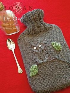 Dr Owl - free pattern Knitted hot water bottle cover