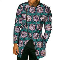 RDHOPE-Men Islamic Floral Printed Long-Sleeve Muslim Shirt Blouse Tops