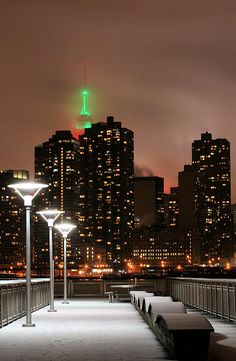 The New York City Skyline as seen on a snowy night in Gantry Plaza in Long Island City Queens. Places Around The World, Travel Around The World, Around The Worlds, Gaudi, Monuments, A New York Minute, Empire State Of Mind, I Love Nyc, Long Island City