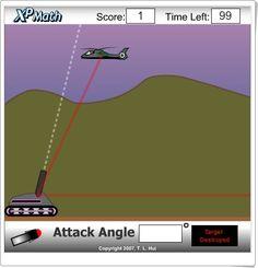 """""""Attack Angle"""" es un juego, de xpmath.com, en el que se ha de escribir en la ventana en blanco el ángulo que se estima en que se ha de disparar desde el tanque para alcanzar el helicóptero."""
