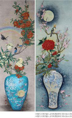 이지영 – 항아리 가득 담아낸 소망의 꿈 | 월간민화 Chinese Brush, Chinese Art, China Pot, Korean Painting, New Theme, Chinoiserie, Watercolor Art, Oriental, Birds