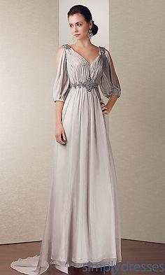 Long V-Neck Split Sleeve Dress at PromGirl.com
