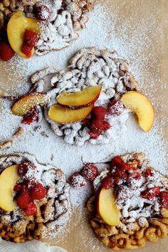 Cinnamon Sugar Funnel Cake with Peaches and Raspberries | Joy The Baker | Bloglovin'
