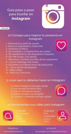 Una infografía con una guía paso a paso para triunfar en Instagram.