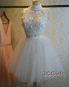 Prom dress 2016, cute white tulle high neck sleeveless mini prom dress for teens,party dress, vintage dress from #3cgirls #weddings -> http://www.3cgirls.com/#!product/prd1/4242493965/cute-white-tulle-high-neck-mini-party-dress