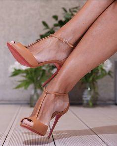 Women brown leather t-strap pumps women shoes open toes t-bar ankle strap women shoes high heels neckline gladiator - women shoes fashion, Hot High Heels, High Heel Boots, Shoe Boots, Sexy Heels, Dream Shoes, Crazy Shoes, Zapatos Shoes, Shoes Heels, Cute Shoes