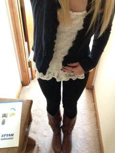 ruffle shirt, cardigan, leggings, boots
