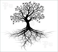 clip art of trees with roots | Illustration of whole black tree with roots isolated white background ...