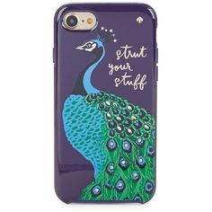 Kate Spade New York Peacock Hybrid Hardshell iPhone Case ($45) ❤ liked on Polyvore featuring accessories, tech accessories, blue multi, apple iphone case, kate spade, blue iphone case, sparkly iphone cases and iphone hard case