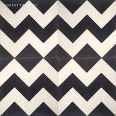 Cement Tile Shop - Encaustic Cement Tile | Chevron Black