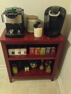 Simple coffee bar for college students/recent graduates made with a Target bookshelf and stocked with your favorite teas, coffees, brewing machines and knick knacks