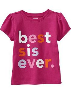 """HAPPY 2ND Birthday!!  Fun tees for the playground.  """"Best Sis Ever"""" Tees for Baby 