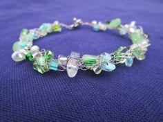 Green Rock Candy Wire crochet bracelet by RockCandyCrafts on Etsy, $12.00