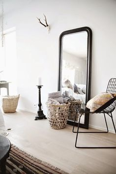 Decorative wall mirrors can be used in different ways to enhance decor ideas. Wall Mirrors presents 10 stunning black wall mirror ideas to decorate your home. Black Wall Mirror, Rustic Wall Mirrors, Giant Mirror, Huge Mirror, Mirror Mirror, Ikea Mirror, Trumeau Mirror, Large Mirrors, French Mirror