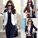 New Women OL Coat Lapel One Button Long Sleeve Short Suit Blazer Outerwear 5 Colors,  http://www.shopcost.co.uk/